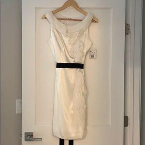 Cream silk dress with black ribbon tie waist!